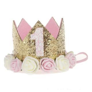 Girl Baby Birthday First Flower Decor Cap Party Headband