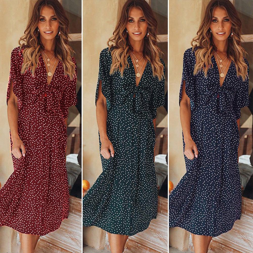66eef7396053 Womens Holiday Strappy Button Pocket Ladies Summer Beach Midi Swing Sun  Dress | Shopee Singapore
