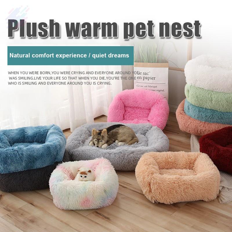 Dog Bed Square Calming Warming Plush, Large Dog Furniture