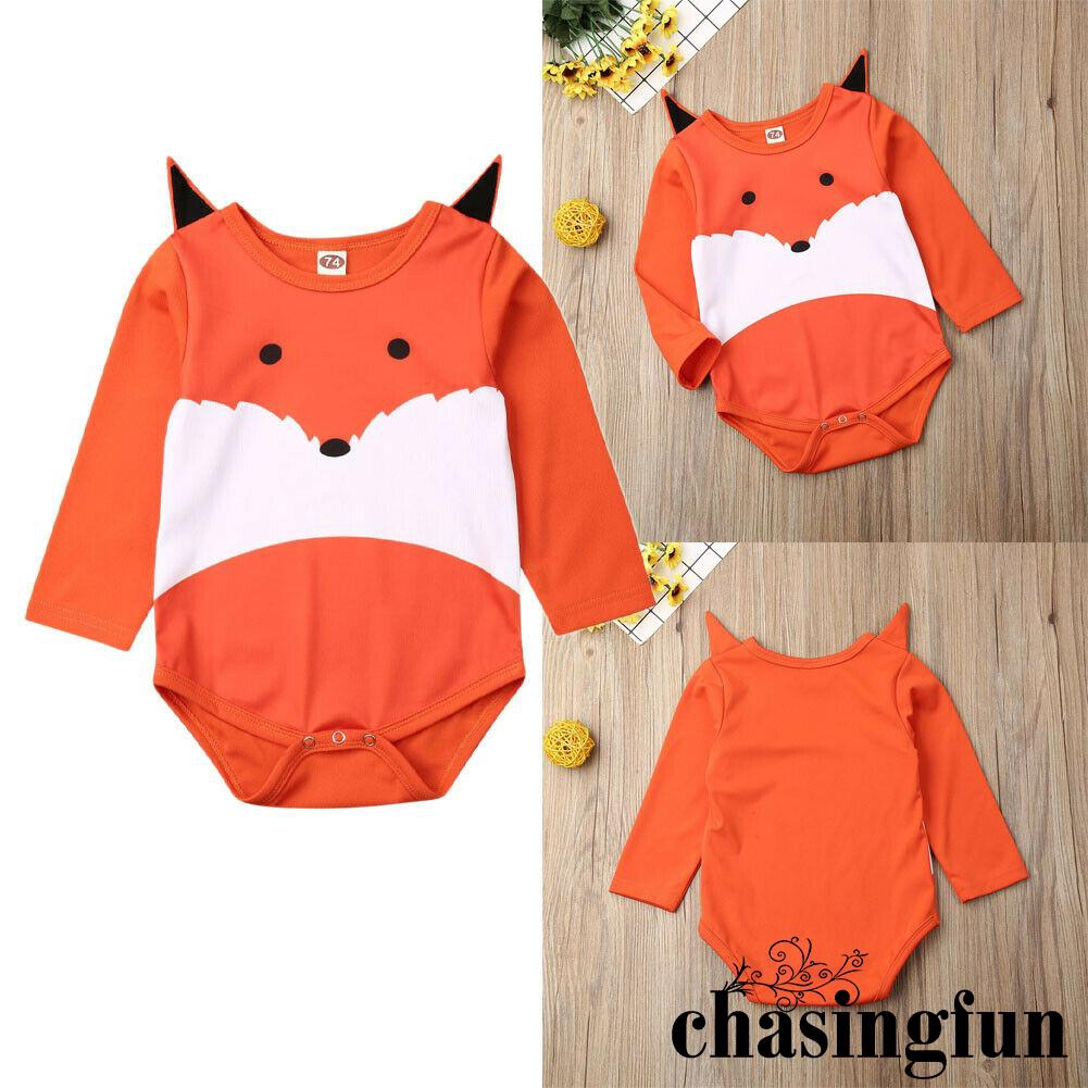 Baby Girls Boys Long Sleeve Animal Print Romper Jumpsuit Infant Outfits Clothes