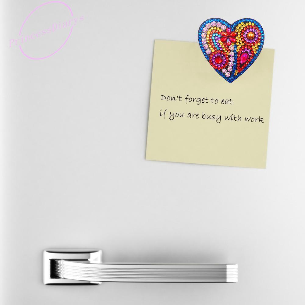 4pcs DIY Full Drill Special Shaped Heart Diamond Painting Home Fridge Magnet