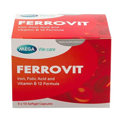 Mega We Care Ferrovit (Iron, Folic Acid, Vitamin B12) 50's Softgel Capsules