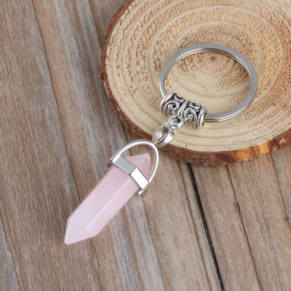 Accessories Geometry Shape Bag Car Pendant Natural Stone Key Chain Opal Stone