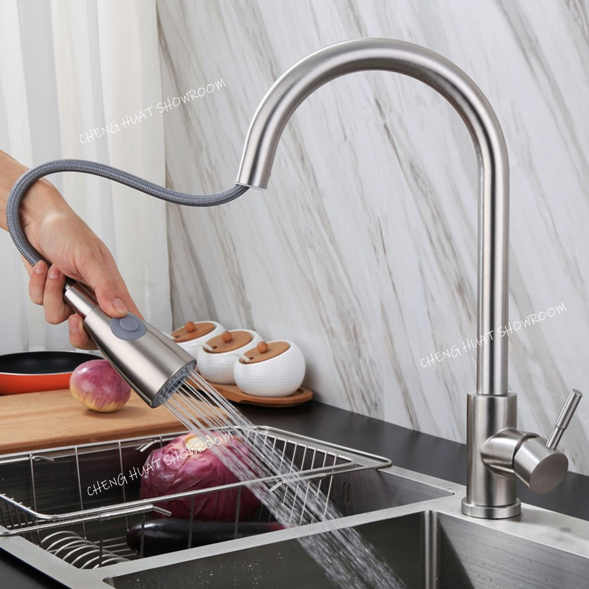Image result for Kitchen basin sink tap hot & cold mixer tap flexible pull out faucet shopee.sg