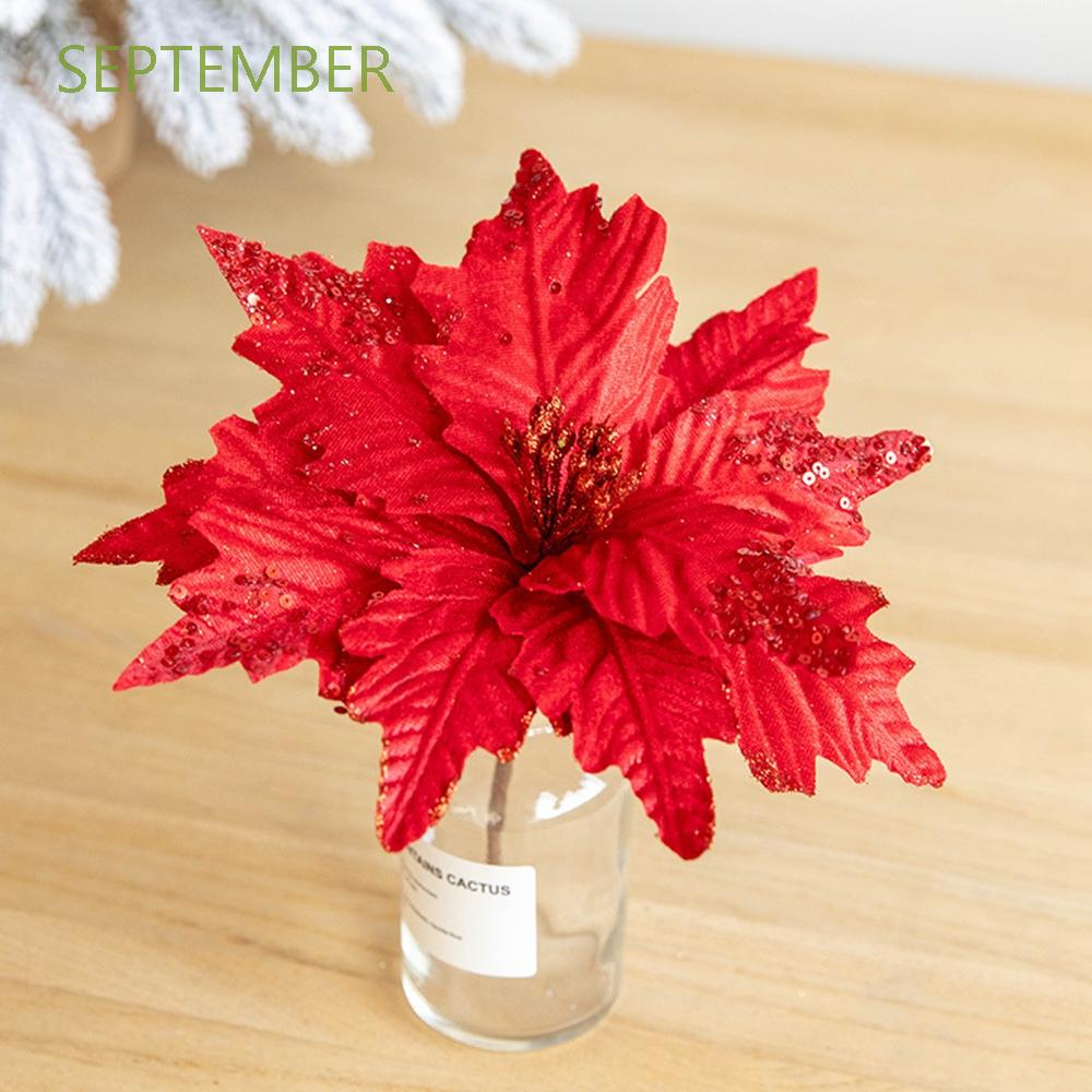 September 25cm Artificial Christmas Flowers Diy Glitter Fake Flowers 2pcs Set Wedding Favors Poinsettia Home Decoration Flower Head Party Supplies Christmas Tree Ornaments Red Pink Green Shopee Singapore