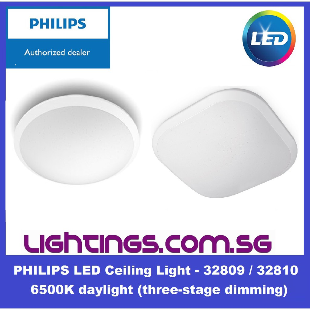 Philips Led Ceiling Light Round Square 32809 32810 65k 18w Daylight