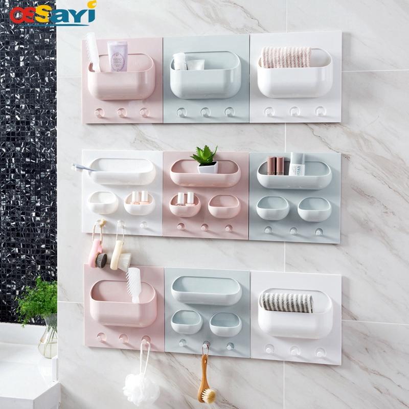 Self Adhesive Toothbrush Toothpaste Holder Storage Rack Organizer Wall Mounted