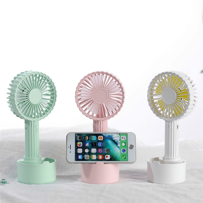 Fans 2019 New Style Creative Mini Usb Charging Mobile Phone Bracket Small Fan 180 Degree Rotating Mute Three-speed Adjustable Desktop Office Fan