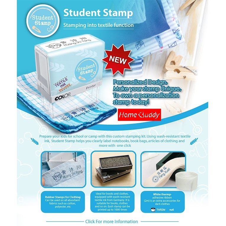 Personalized Textile Stamp Student Name Self Inking Stamp Waterproof Stamp