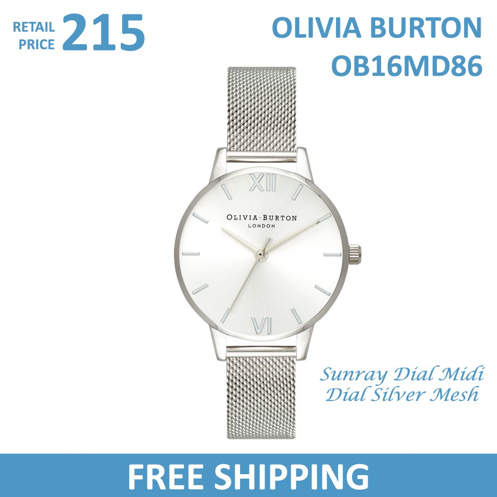 b9b0613a2235 Olivia Burton Ladies Watch Sunray Dial Midi Dial Rose Gold Mesh OB16MD84