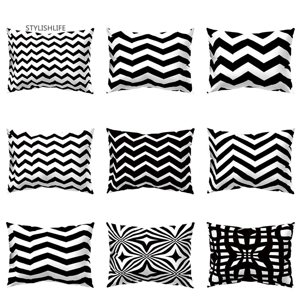Sl Black White Geometric Design Throw Pillow Case Cushion Cover