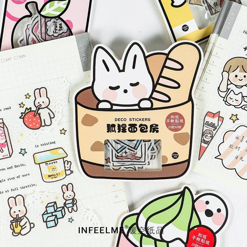 46pcs Cute Cartoon Purin Dog Diary Paper Label Stickers DIY Scrapbook Stickers x