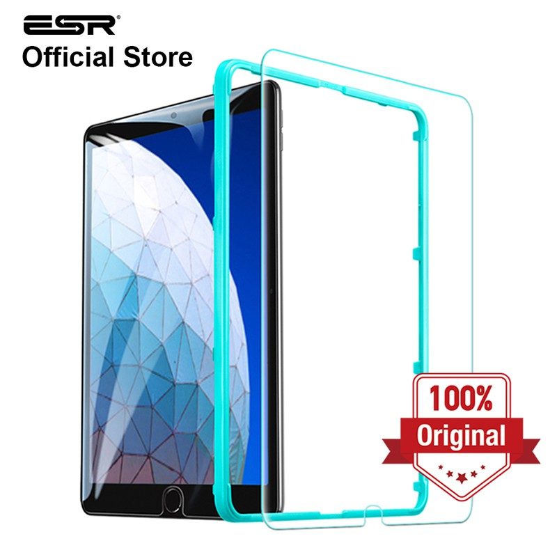 ESR Screen Protector for iPad 10.2 2019 7th Gen HD Clear Premium Tempered Glass Screen Protector //iPad Air 3 2019//iPad Pro 10.5, 1 Pack Scratch-Resistant Free Installation Frame 9H Hardness