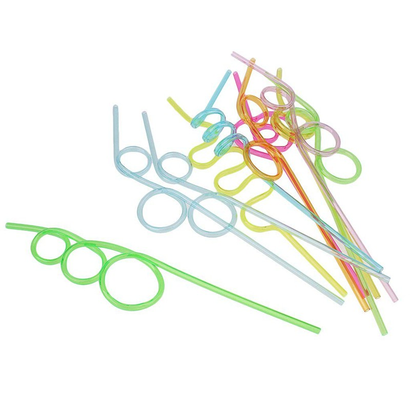 10pcs Novelty Fun Curly Drinking Straws Wiggle  Kids Party Accessories