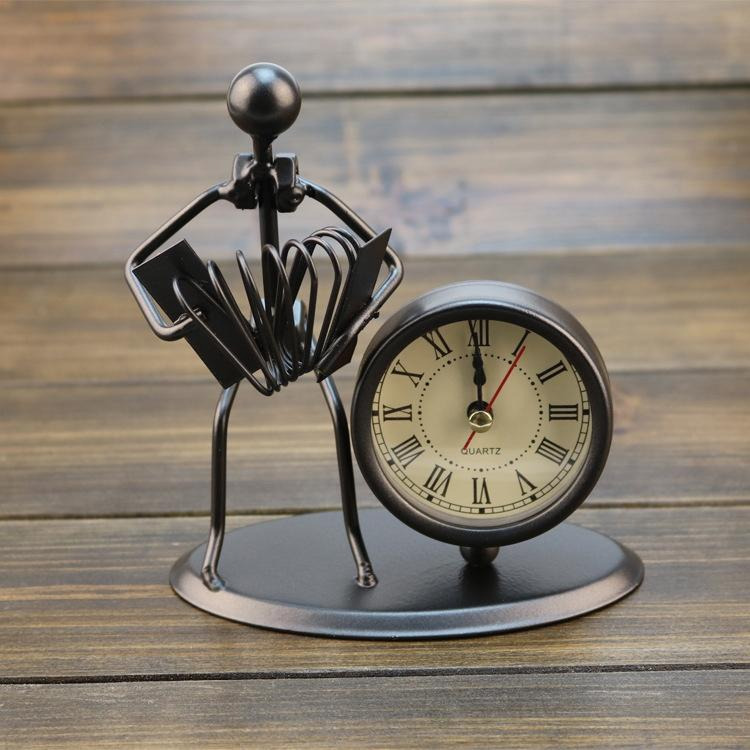 Novelty Clock Creative Iron Stainless Steel Small Alarm Clock Retro Personalized Watches And Clocks Boutique Gifts Shopee Singapore