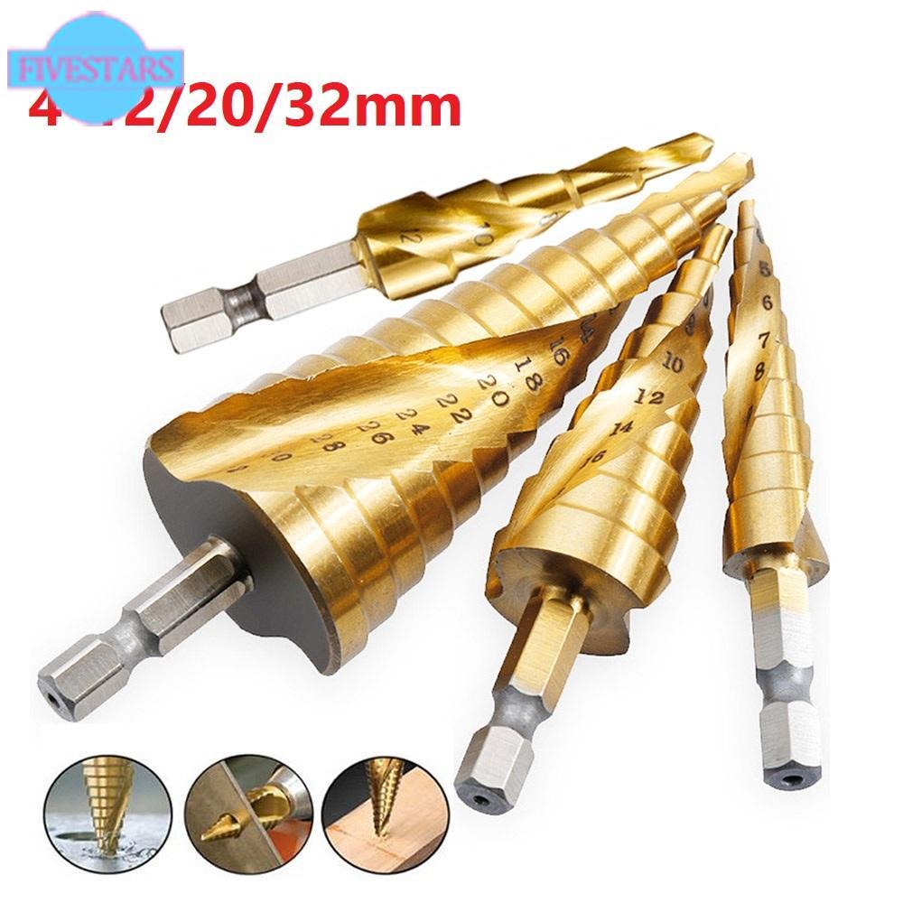 Details about  /4-12//20//32mm HSS Hex Shank Spiral Groove Step Cone Drill Bit Hole Cutter
