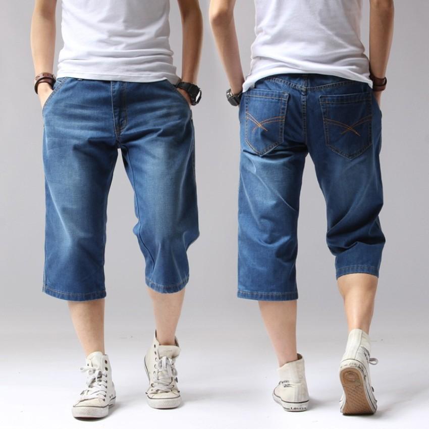 Summer Denim Jeans Mens Shorts Solid Loose Shorts Cargo Knee Length Men  Short Jeans Big Size | Shopee Singapore