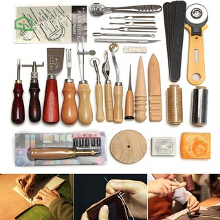 Leather Craft Hand Tools Kit For Hand Sewing Stitching Carving Stamping Q