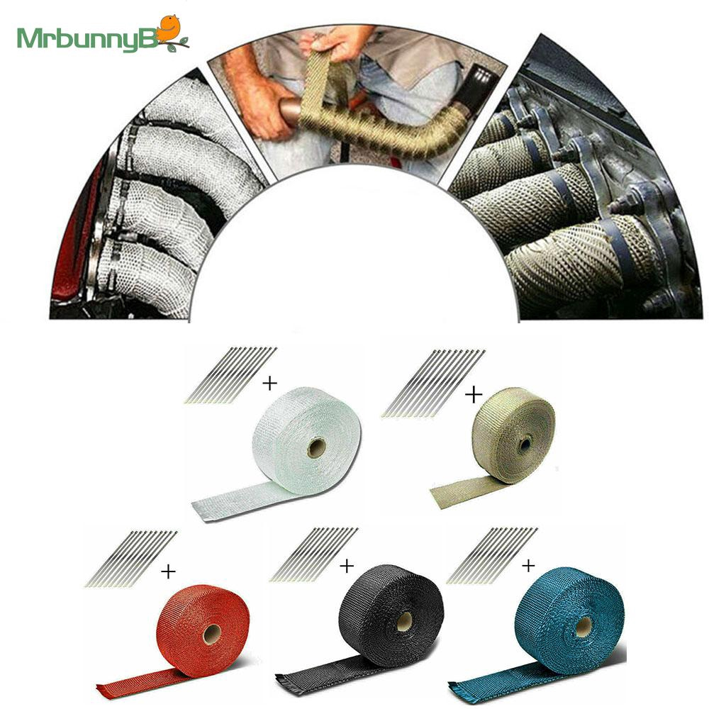 """2/"""" 10M Super Thermo Car Motorcycle Heat Shield Exhaust Pipe Bandage Thermal Wrap"""
