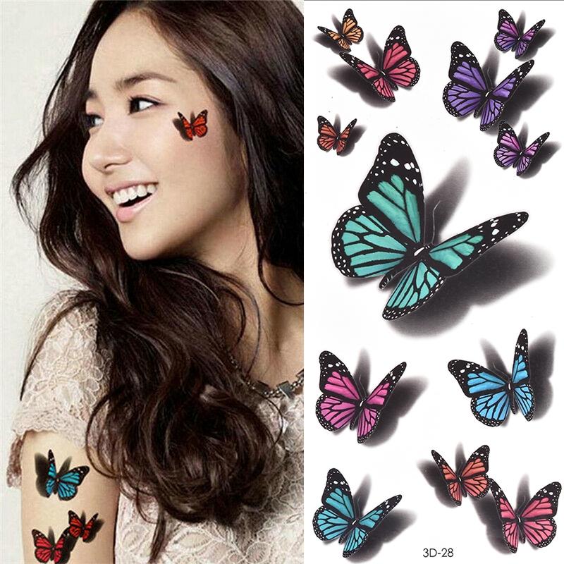 4pcs Temporary Tattoos Sticker For Women Body Art Tattoo Sticker 3d Butterfly Rose Flower Feather Tattoo Waterproof Halloween Gift Shopee Singapore