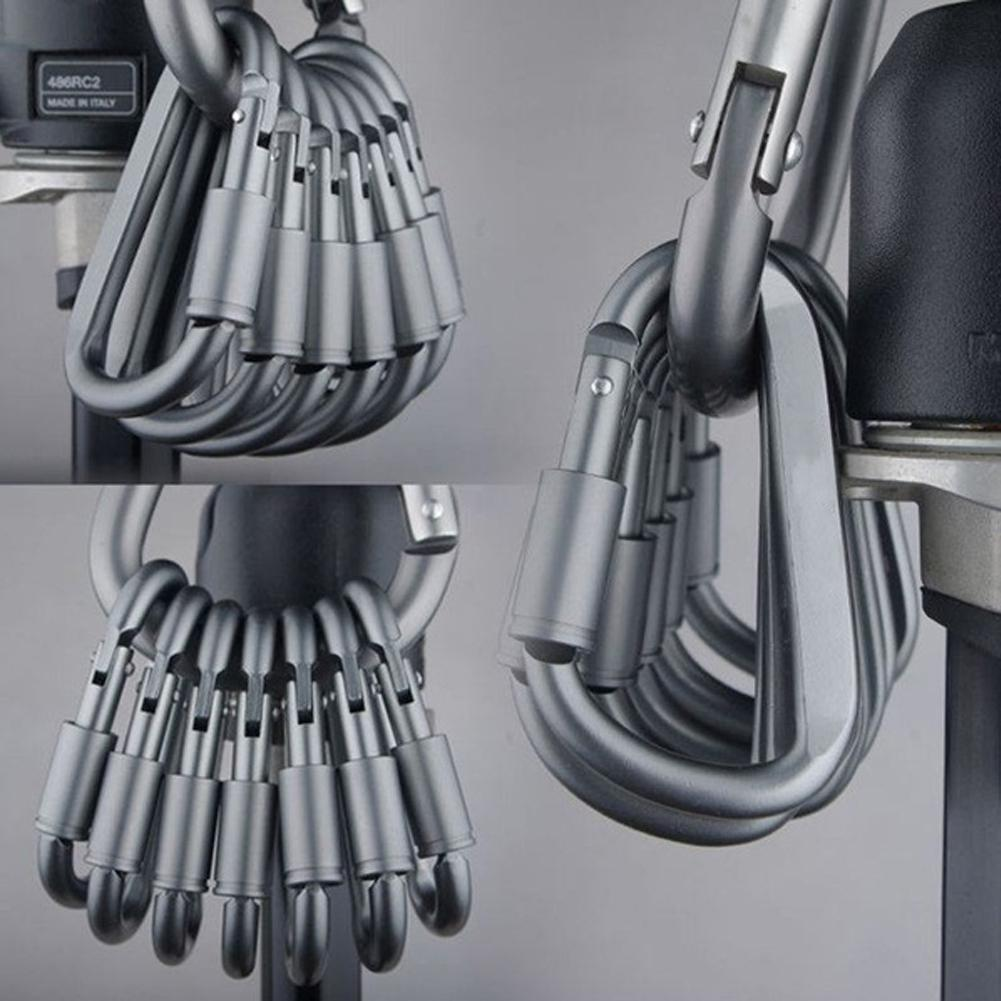 10Pcs Safety Buckle Hook Climbing Button Carabiner Hook Keychain Aluminium Alloy