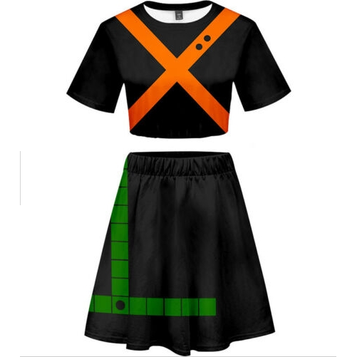 My Hero Academia Bakugou Katsuki 3D Printed Crop-top Short Tee Skirt Suit
