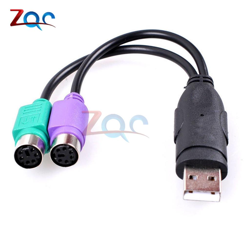 USB Male to ps//2 ps2 female converter cable cord keyboard mouse adapter EC