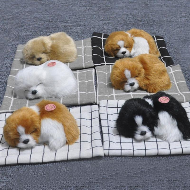 Cute Simulation Puppy Plush Stuffed Animal Doll Sleeping Dog Cat Toy Kids Gift