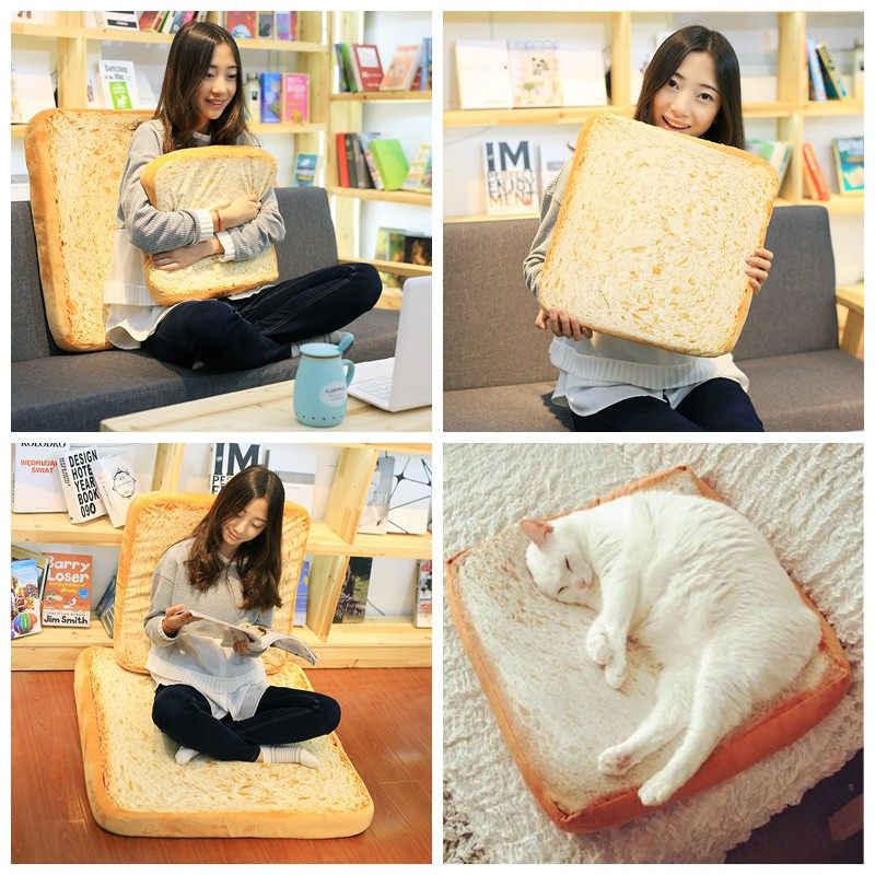 Pet Bed Bread Cushion Pillow Fashion And Creative Toast Bread Soft Warm Cat Bed Shopee Singapore