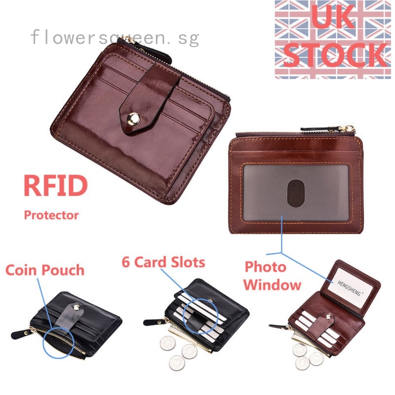 Men/'s Leather Small RFID Wallet Slim Purse Around Credit Card Coins Holder Black
