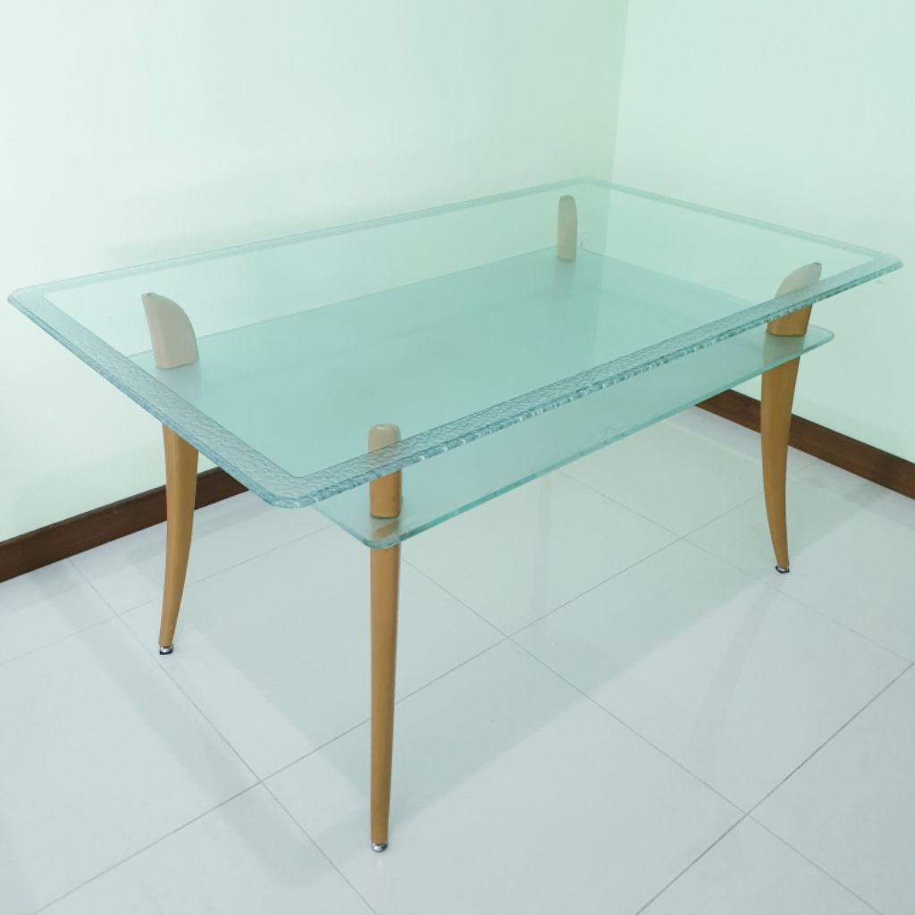 2tier Storage Tempered Glass Dining Table Shopee Singapore [ 1024 x 1024 Pixel ]