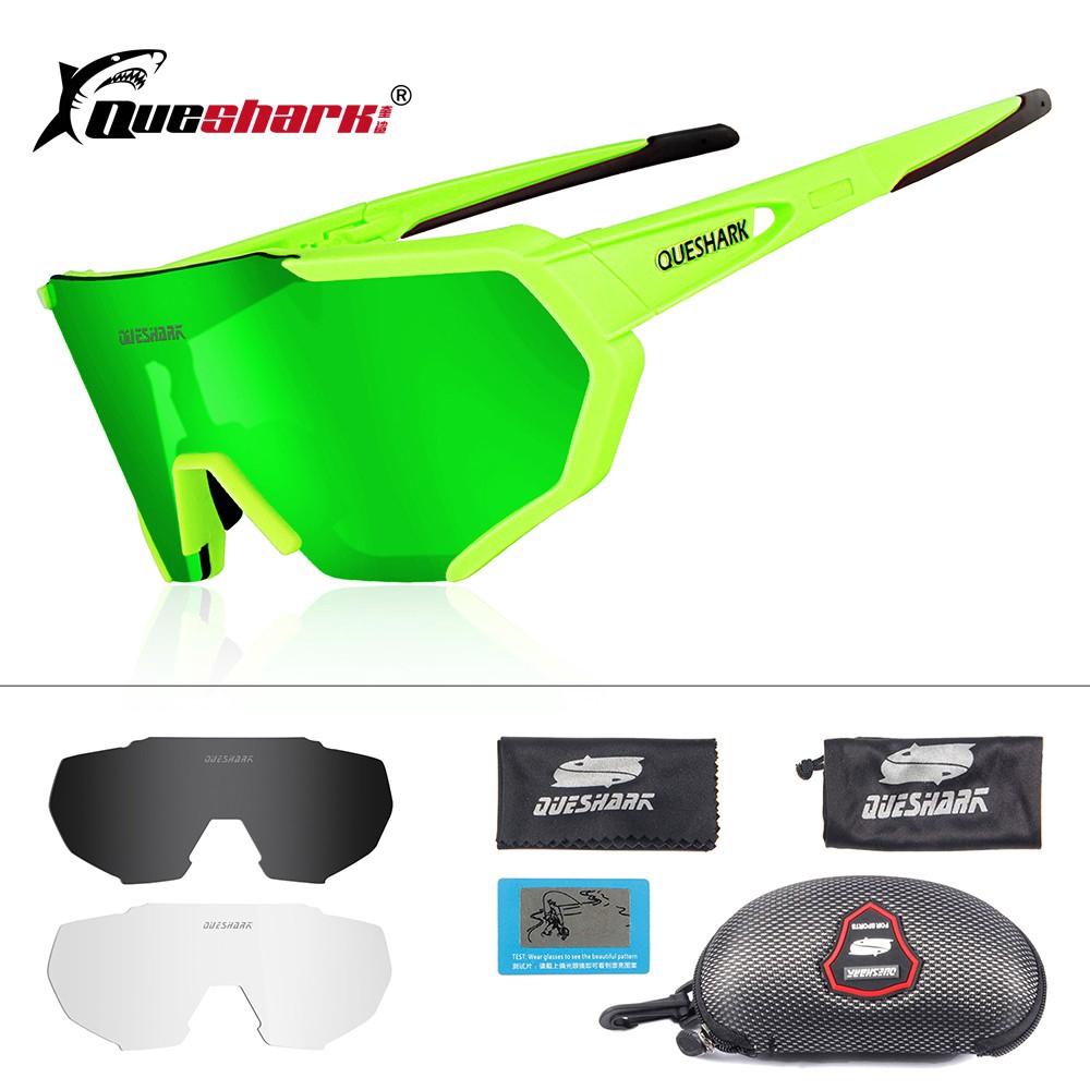 6dfebd1d81a QUESHARK 2019 New Design Polarized Cycling Sunglasses 3 Lens Mirrored UV400