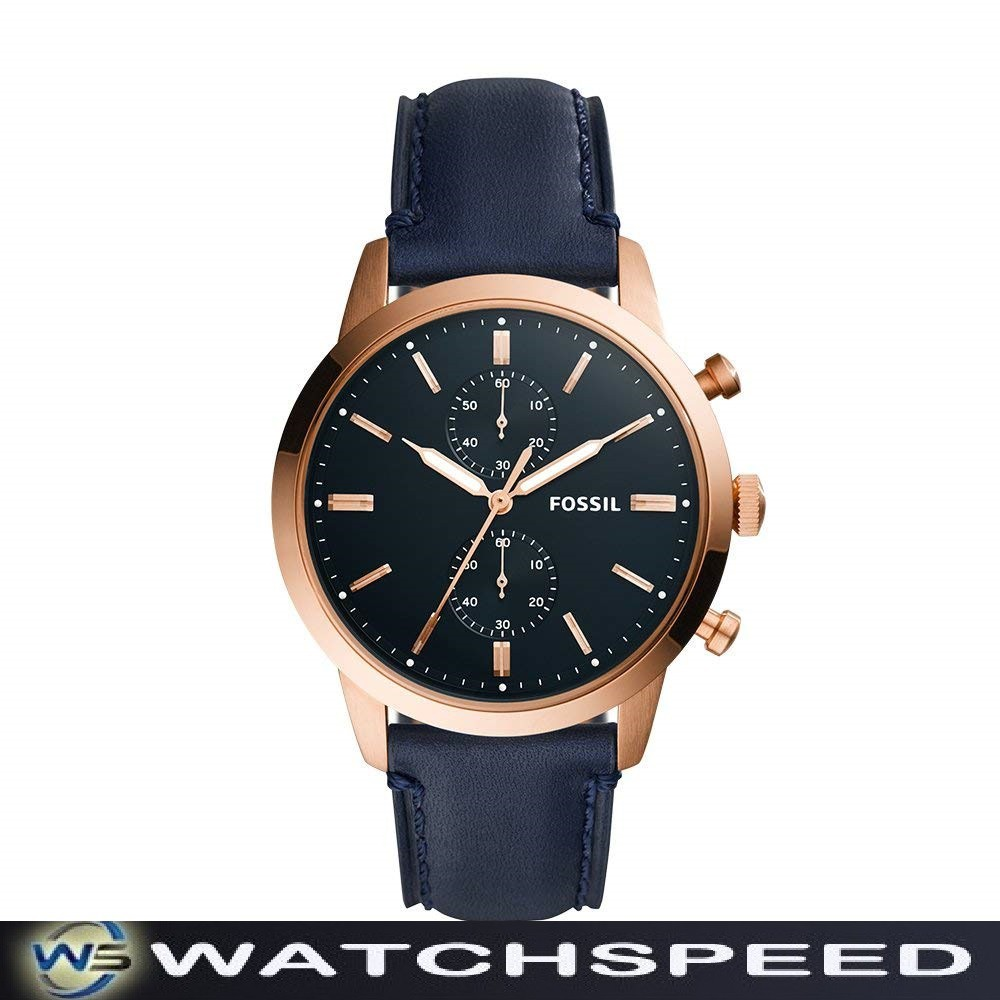 118741932 Fossil Grant Chronograph Navy Blue Dial Brown Leather Men Watch FS5210 |  Shopee Singapore