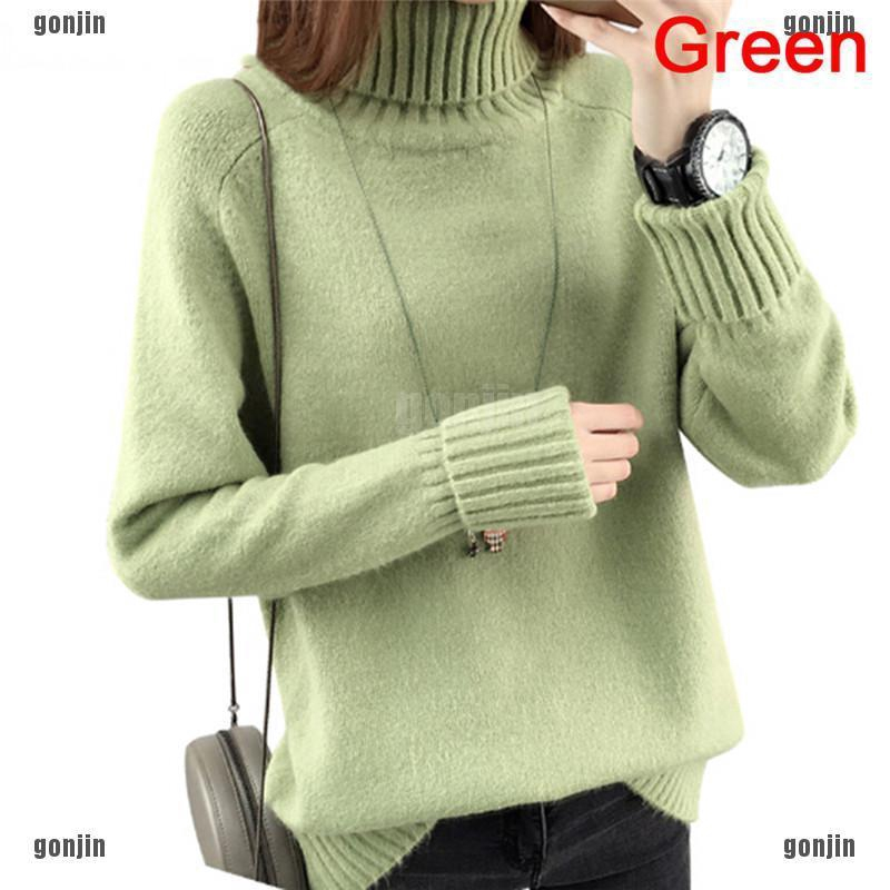 Womens Mixed Color Loose Fit Sweater Casual Tops Turtleneck Korean Pullover U128