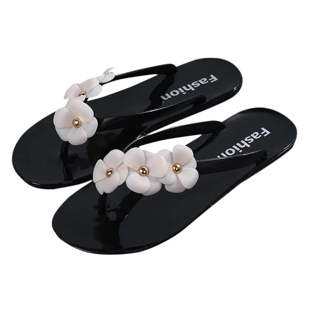 9d2bd916049c Slippers Summer Beach Slippers Flower Print Flip Flops Sandals Woman Ladies  Flats Shoes sapato feminino