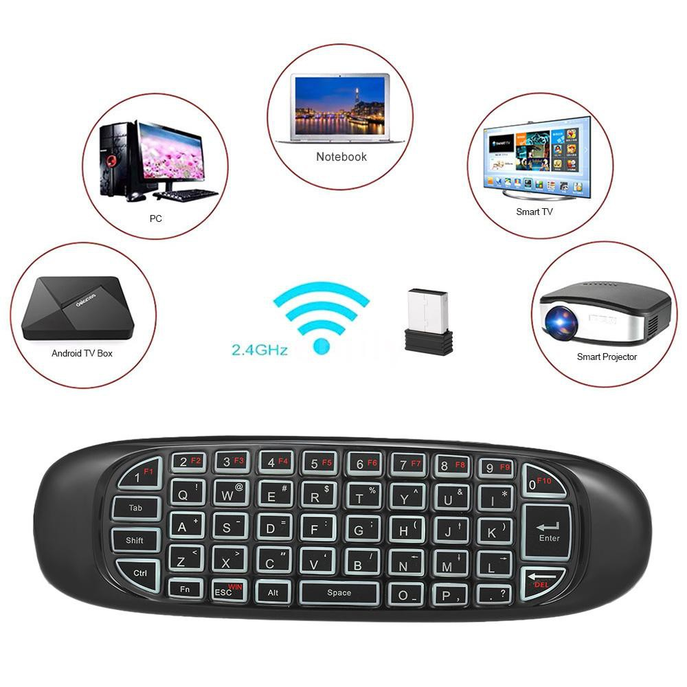 Calvas 2.4Ghz Mini Air Mouse Wireless Keyboard Handheld 20mA Gaming Remote 10m 20uA C120 1 LED indicator Control Color: english version