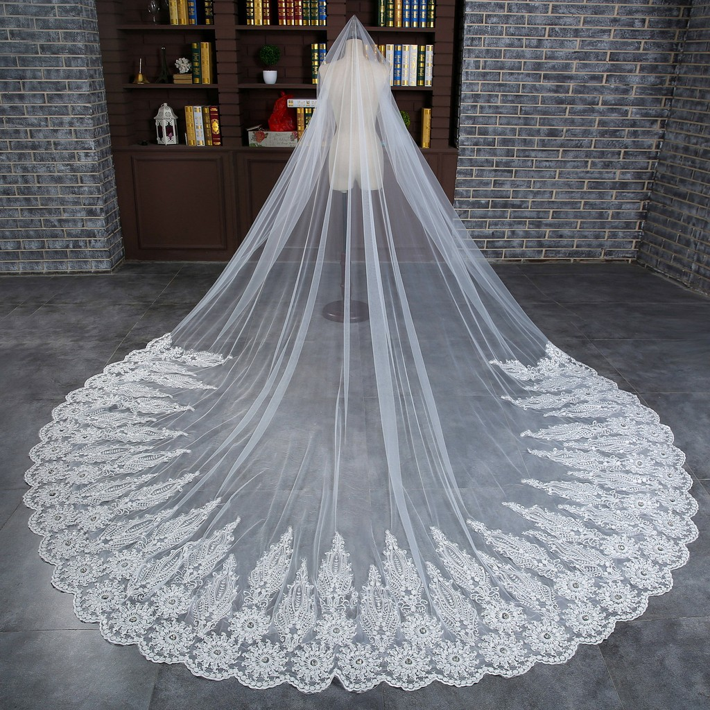 bride white veil 3 meters lace embroidery wedding dress accessories