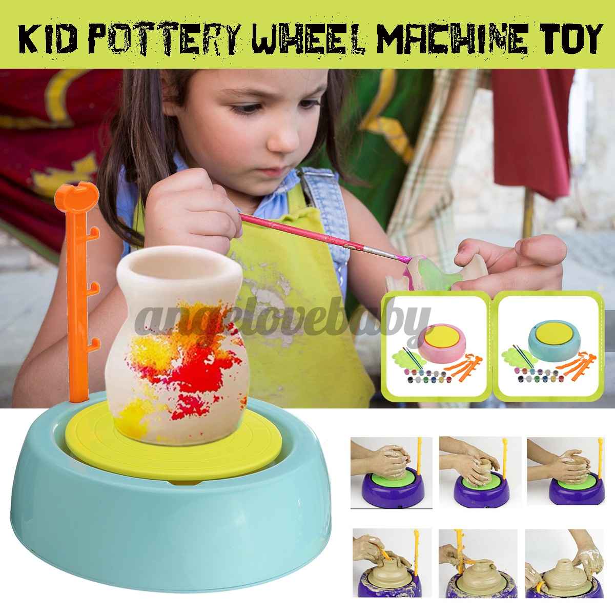 Electric Pottery Wheel Ceramic Machine Kids Diy Ceramic Art Tool Clay Making Toy Shopee Singapore