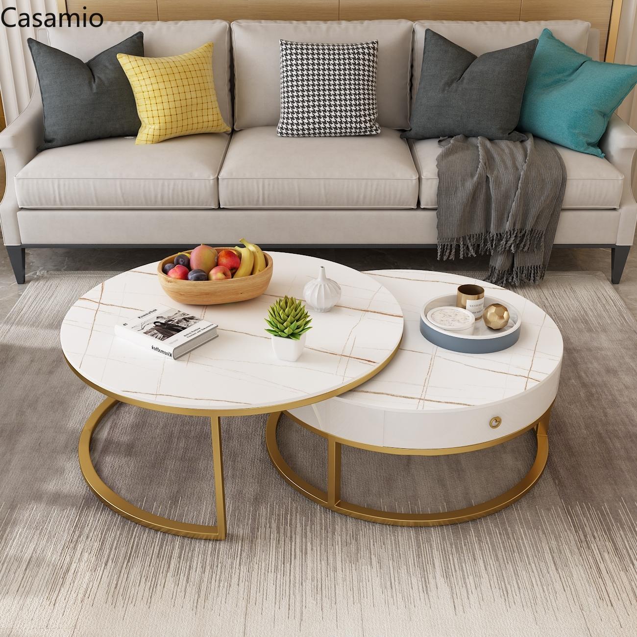 Real Marble Coffee Table Set Italian Slate Coffee Table Nordic Tea Table With Drawer Living Room Storage Table Set Modern Shopee Singapore