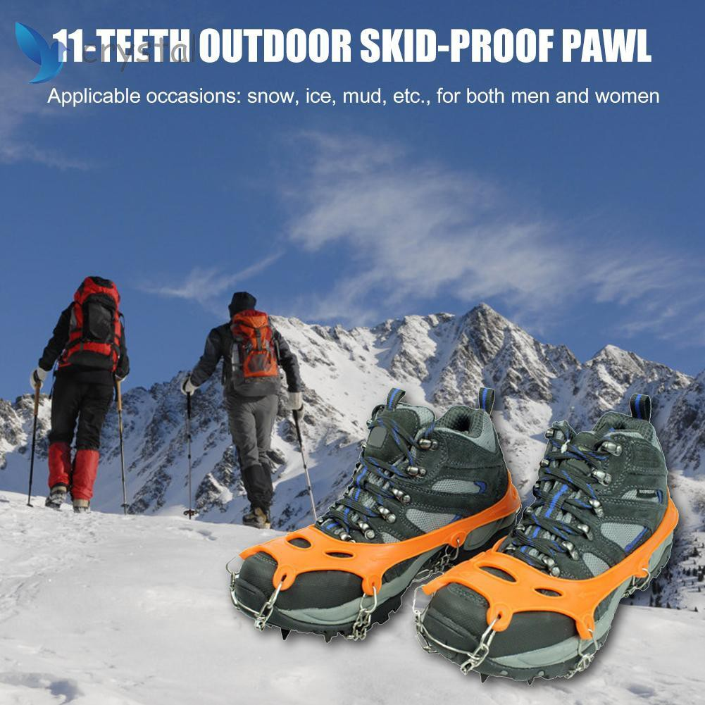 24 Teeth Crampons Snow Ice Shoes Cover Non-slip Boots Crip Cleats Spike Durable