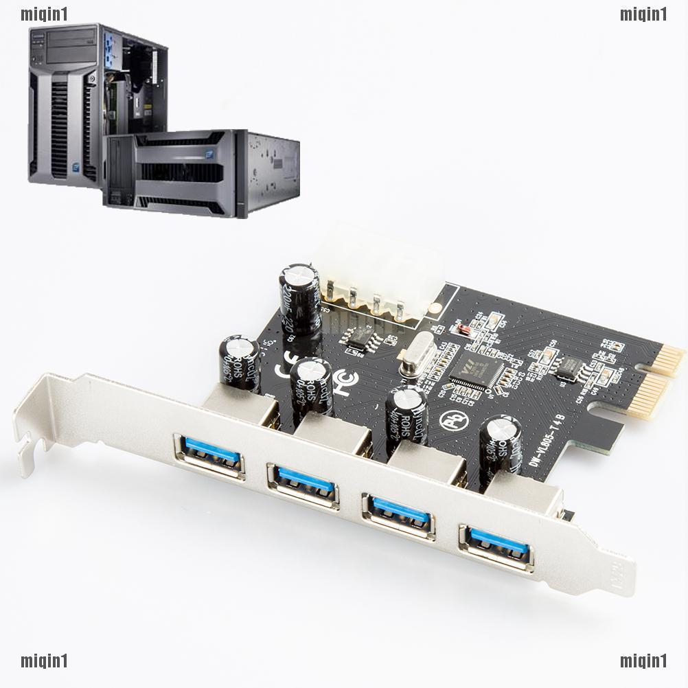 4 Port PCI-E to USB 3.0 HUB PCI Express Expansion Card Adapter Converter