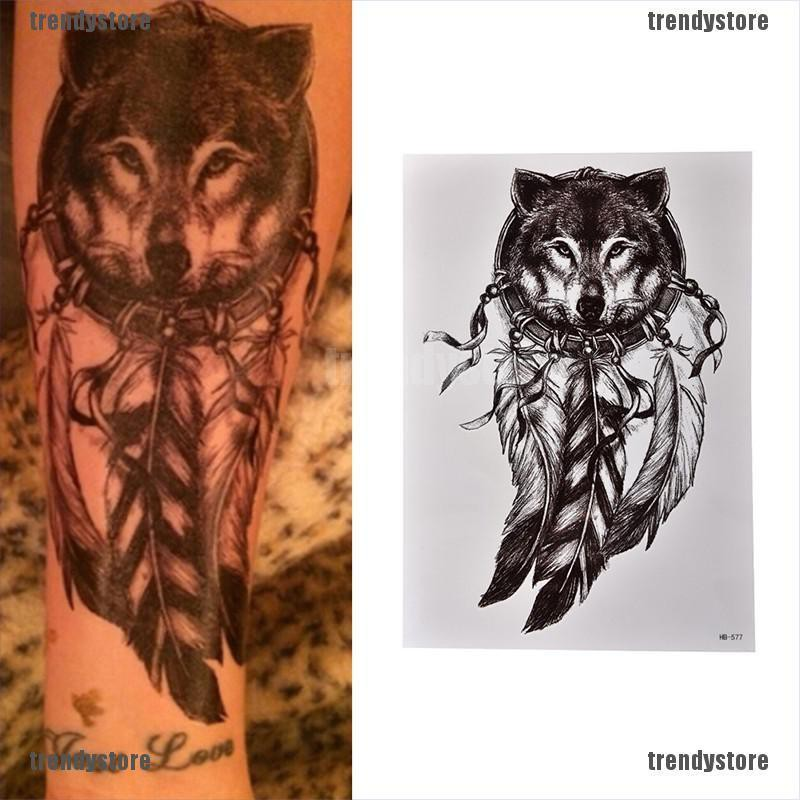 Trendystore Waterproof Wolf Dreamcatcher Temporary Tattoo Large Arm Body Art Tattoos Sticker Shopee Singapore