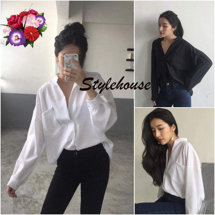 6bf6c27213b Gracila Women Irregular Hem Pure Color Long Sleeve Blouses 1 ...