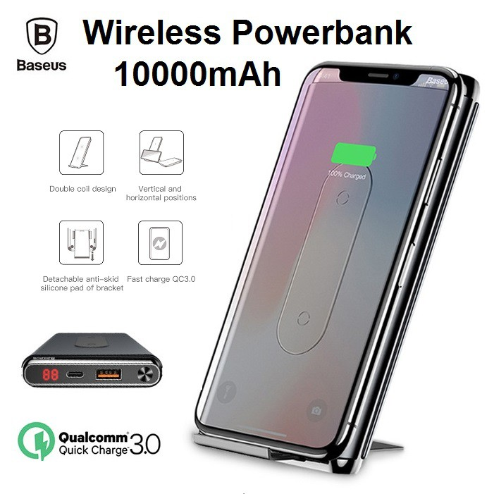 Baseus 10000mAh Wireless Power Bank Charger QC3 0 Type-C Dual Coil Battery  Fast