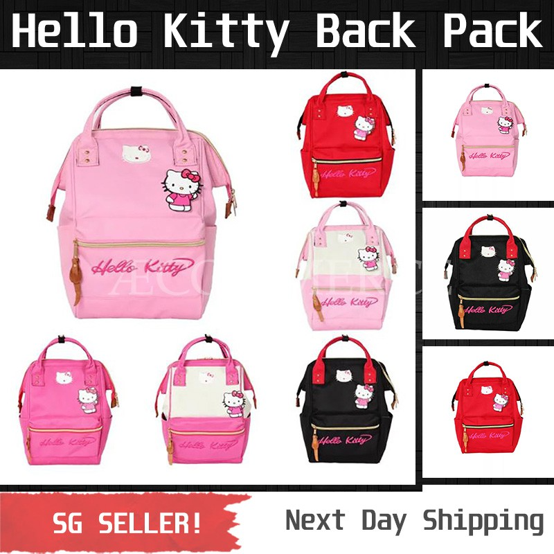 b8e36b9abee Hello Kitty Backpack  Black   Pink   Pink   White   Red   Red   White   Shopee  Singapore