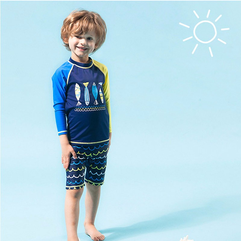 boys two Piece Swimsuit Navy sports long sleeve swimming suit kid boy  swimwear | Shopee Singapore