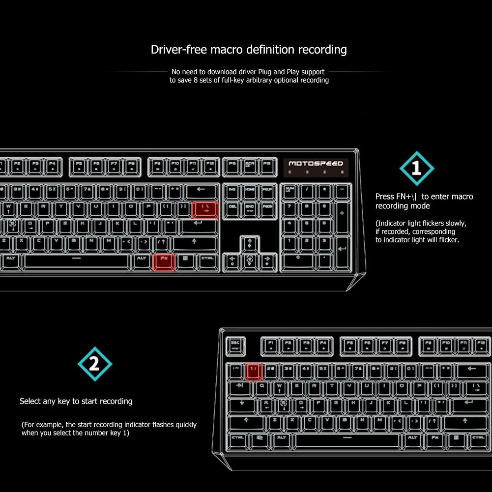 Rom❋ Motospeed K95 Gaming Mechanical Keyboard Blue Switch Backlight