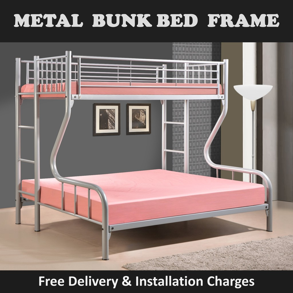 Picture of: Talitha Top Single Bottom Queen Double Deck Bed Frame With Mattress Plywood Shopee Singapore
