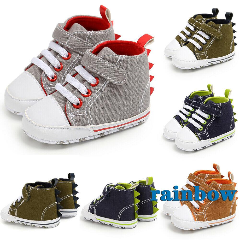 Newborn Baby Girl Walker Soft Sole Anti-slip Shoes Trainers Sneakers Canvas UK