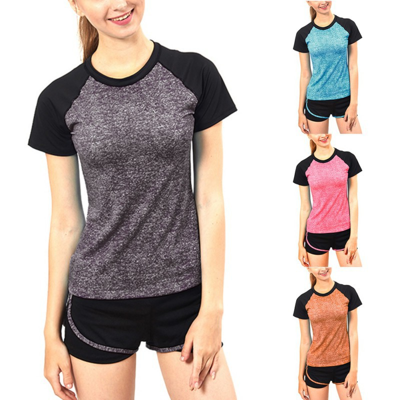 Women Yoga Short Sleeve Sports Fitness Workout Running T